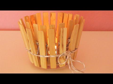 Holz Teelicht für den Herbst | Tolle DEKO IDEE fürGEBURTSTAGE |Basteln mit Wäscheklammern