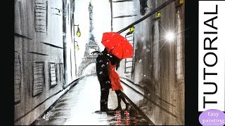 How to paint COUPLE RED UMBRELLA in PARIS. Lovers EIFFEL Tower Painting Tutorial Step by S ...