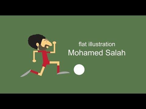 رسم محمد صلاح ليفربول - سكتش how to draw flat illustration mohamed salah liverpool