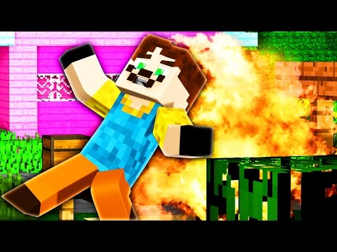 Minecraft - HELLO NEIGHBOR - BLOWING UP THE NEIGHBOR!
