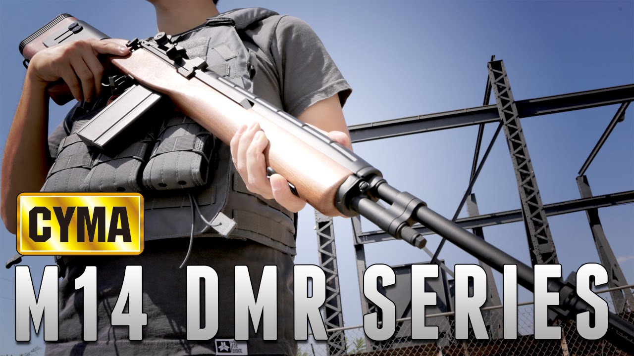 CYMA Full Size M14 Airsoft AEG with Polymer DMR Style Stock (Package: Black  / DMR Stock / Gun Only)