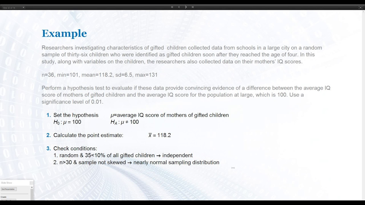 Hypothesis Tests Example Gifted Children Youtube