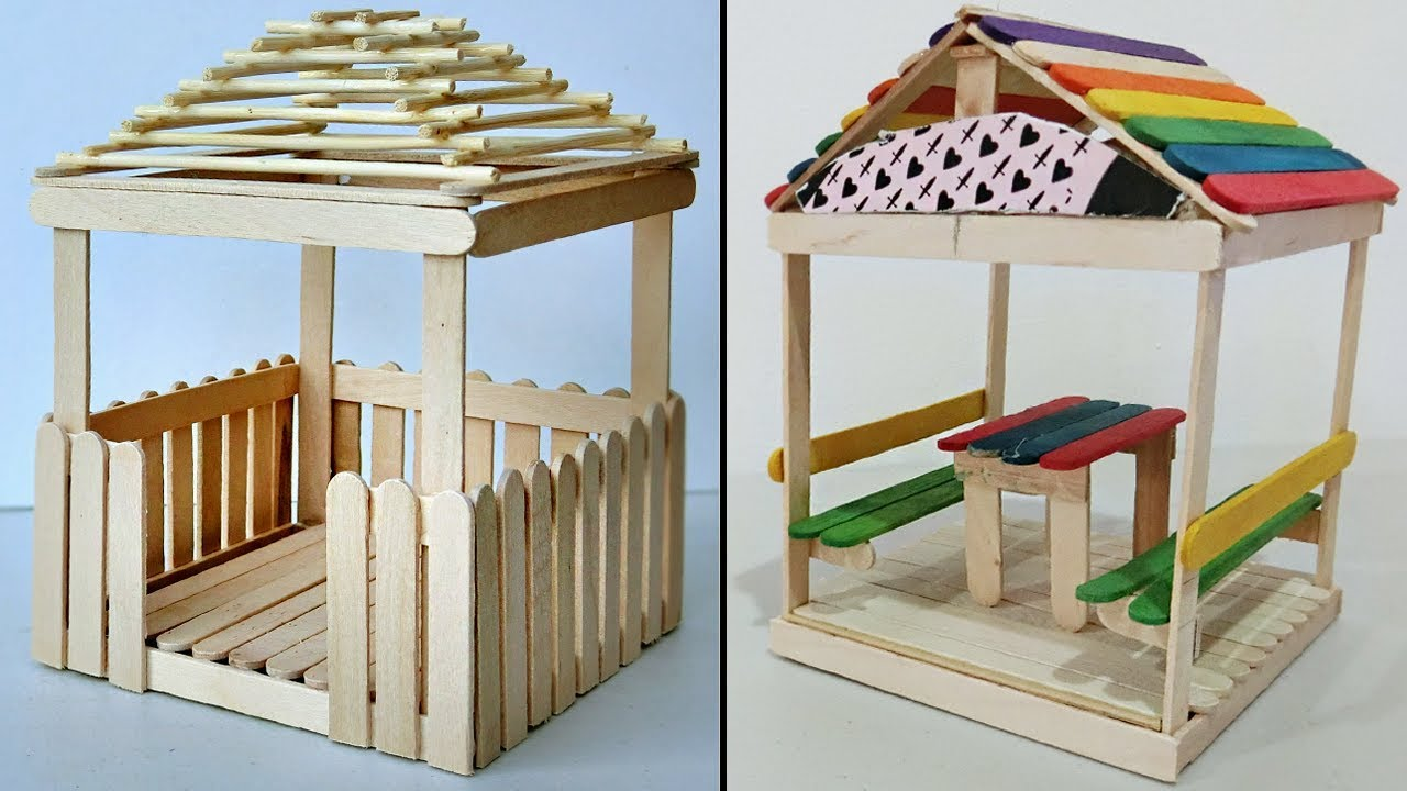 5 mini relaxing huts popsicle stick crafts compilation. Black Bedroom Furniture Sets. Home Design Ideas