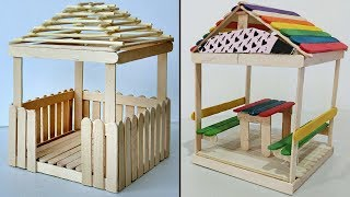 5 Mini Relaxing Huts | Popsicle Stick Crafts Compilation
