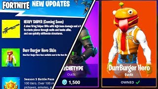 *NEW* DURR BURGER SKIN + 3 NEW WEAPONS COMING to FORTNITE... (Fortnite Battle Royale - NEW GAMEMODE)