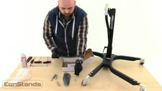 constands power motorbike central stand paddock lift unboxing and mounting instructions