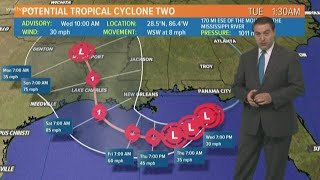 Potential Tropical Storm Barry forecast track (10AM Wednesday)
