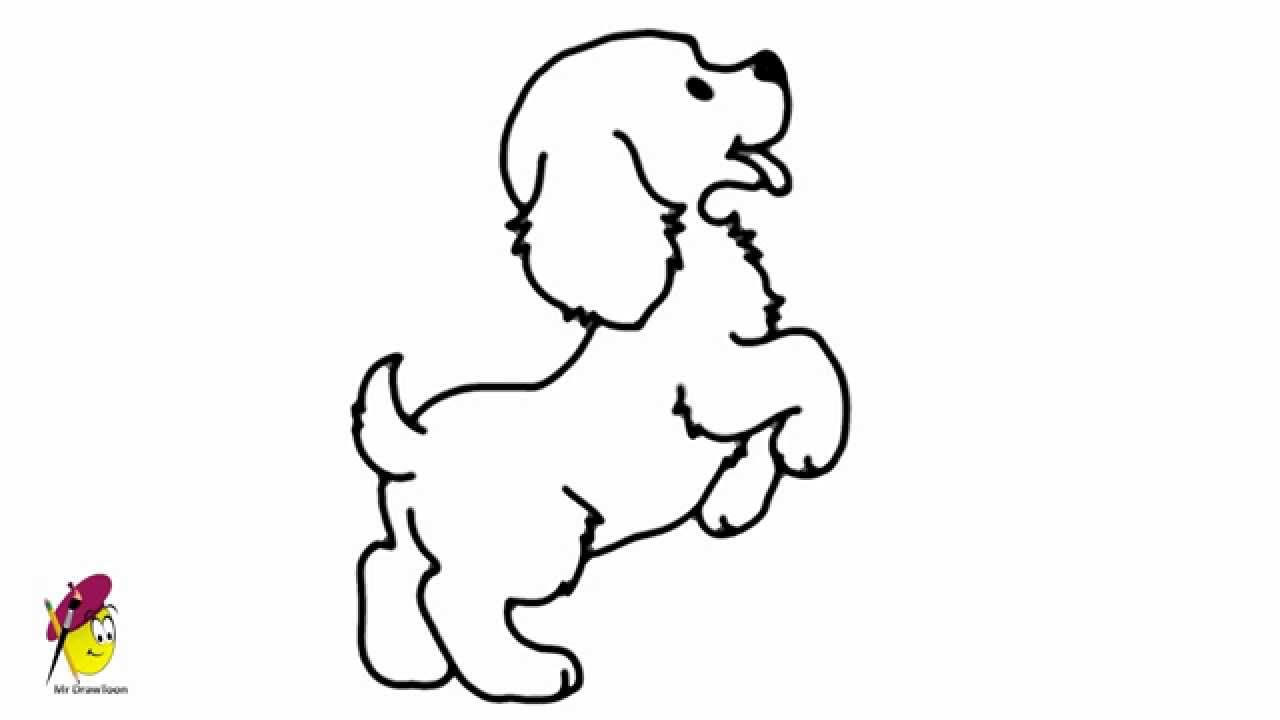 Standing baby Dog - how to draw a Dancing Dog - easy ...