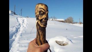 Резьба по дереву. Череп рептилоида, трость с навершием. woodcarving
