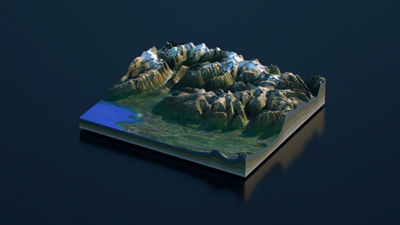 Cinema 4D Tutorial - How to make a Real World 3D Terrain Cross-Section  (Octane Render)