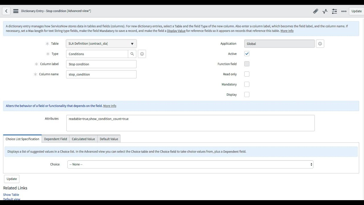 ServiceNow - How to add the condition count to an SLA condition field in  Kingston