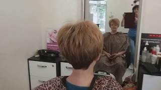 Стрижка на коротких волосах.