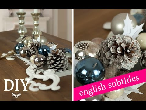 weihnachtsdeko basteln tischdeko mit zapfen und kugeln tutorial deko kitchen youtube. Black Bedroom Furniture Sets. Home Design Ideas