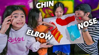 PAINTING With Different Body Parts Challenge! ft Siblings! | Ranz and niana