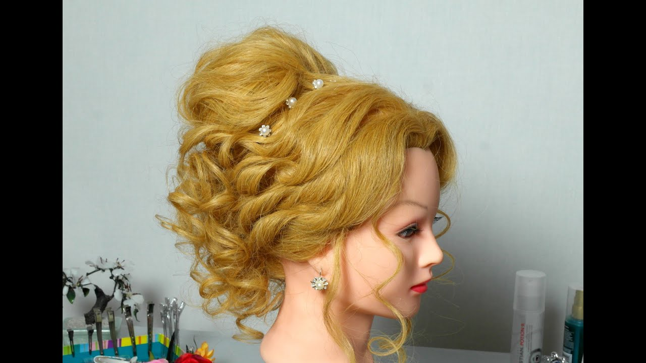 romantic hairstyle for long hair. cute curly updo for wedding
