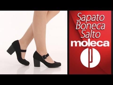 b8c19c0be Sapato Boneca Salto Feminina Moleca - 6030433412 - YouTube