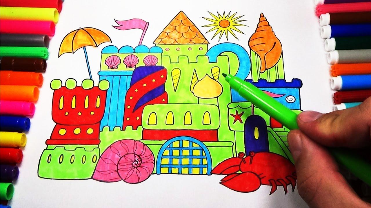 Coloring Oasis Castle on Beach with Sun Umbrella Sea Animals ...
