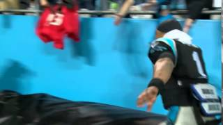 Cam Newton Tries To Steal Fan's Bucs Jersey, Falls Pulls Back, Cam Falls On Face