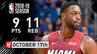 Dwyane Wade Full Highlights Heat vs Magic 2018.10.17 - 9 Points, 11 Reb!