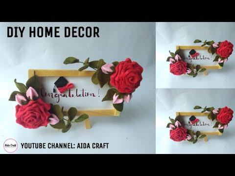 40) DIY - Ide Kreatif Hiasan Dinding  Bunga Flanel - Popsicle Stick Craft Ideas Felt Flower