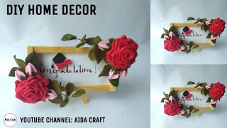 40) DIY - Ide Kreatif Hiasan Dinding  Bunga Flanel - Popsicle Stick Craft Ideas Felt Flower
