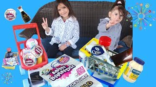 Sam and Abby Pretend play Shopping Zuru W/ MINI BRANDS NEWEST 5 SURPRISE \ OPENING TOYS REVIEW