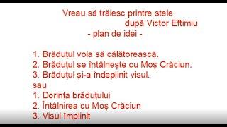Planul de idei Vreau sa traiesc printre stele dupa Victor Eftimiu