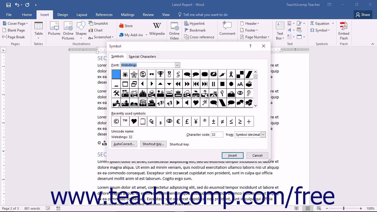 Word 2016 Tutorial Inserting Symbols Microsoft Training
