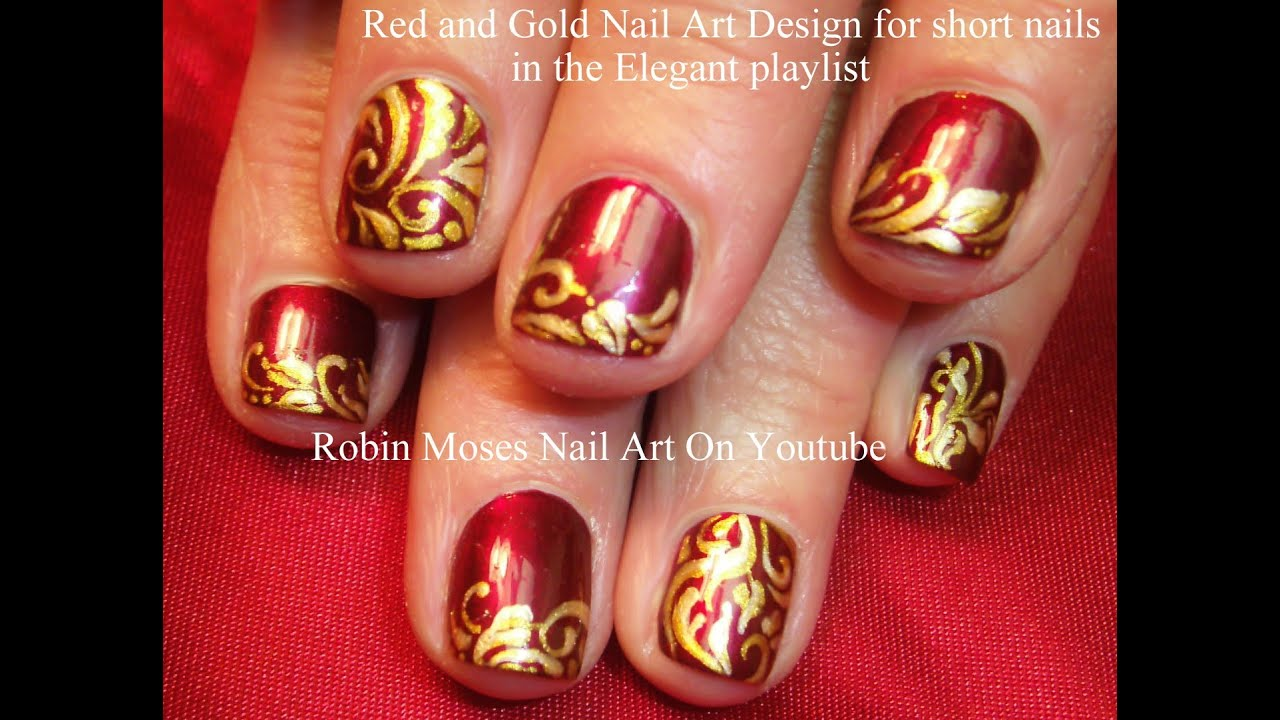 Red Gold Holiday Filigree Nail Design For Short Nails