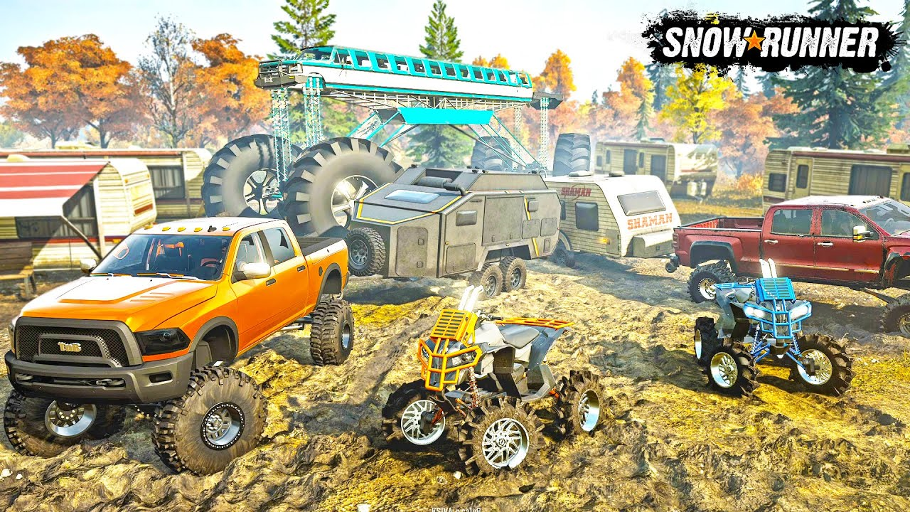 MILLIONAIRE'S GO CAMPING & MUDDING! (INSANE LIFTED TRUCKS & CAMPERS) | SNOWRUNNER