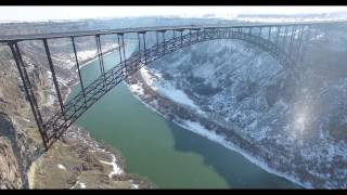 4K Drone Footage of Bridge / Waterfalls (canyon where Evel Knievel attempted jump)