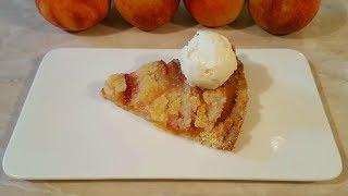 Открытый песочный пирог с персиками и шариком ванильного мороженого!!!