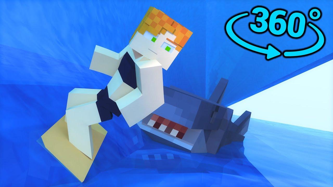 Surfing Minecraft 360/VR    Shark Attack