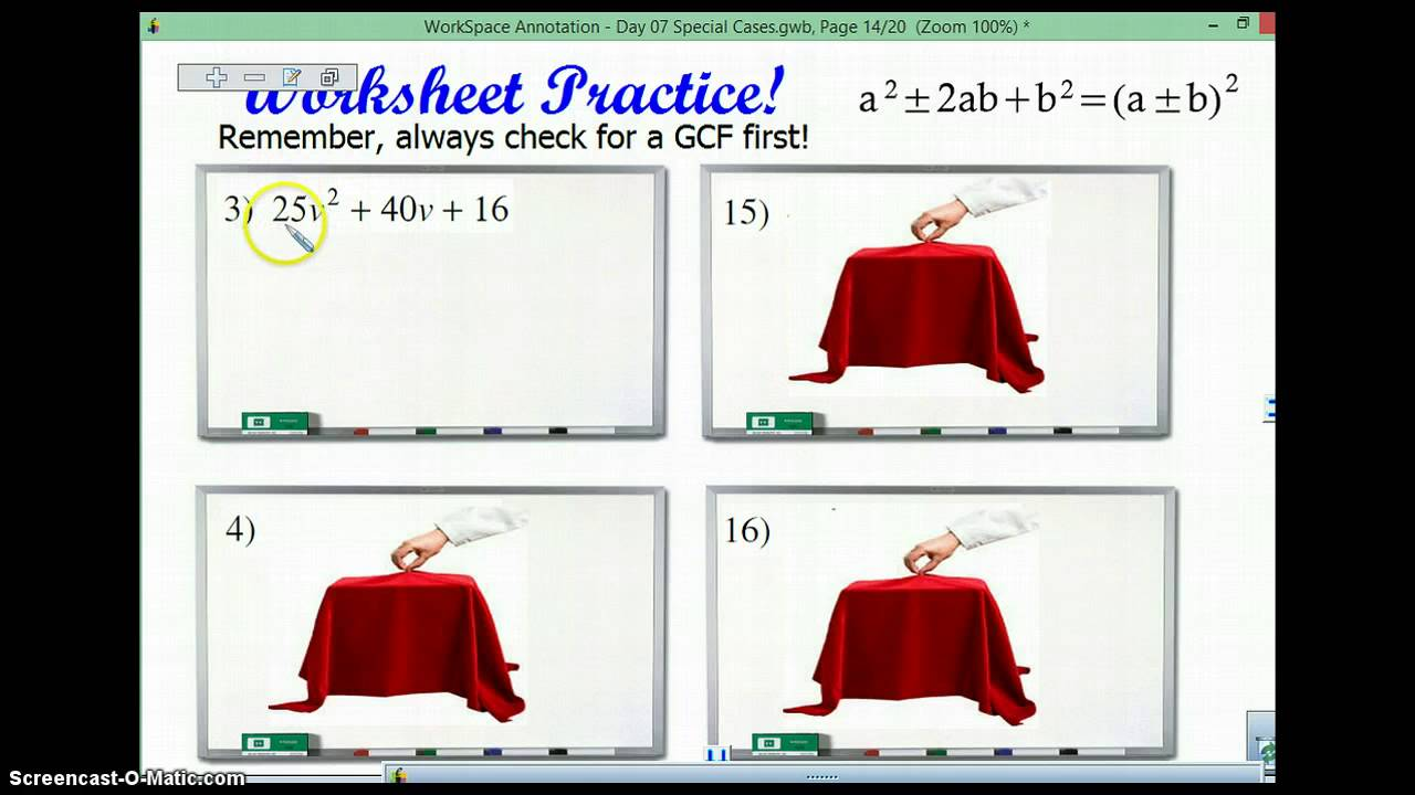 Factoring using Special Products YouTube – Factoring Special Products Worksheet
