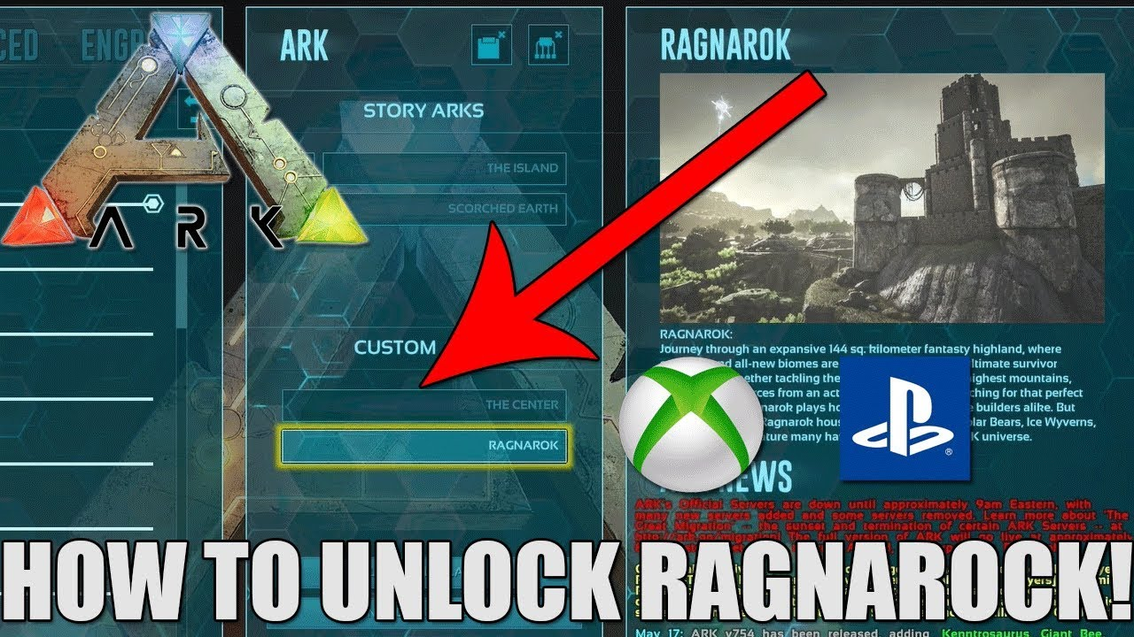 ARK HOW TO UNLOCK RAGNAROK SIMPLE AND EASY CONSOLE