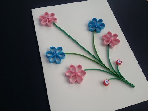 How to make 3d Greeting Quilling Card - DIY Paper Crafts - Birthday Gift Card Ideas # 102