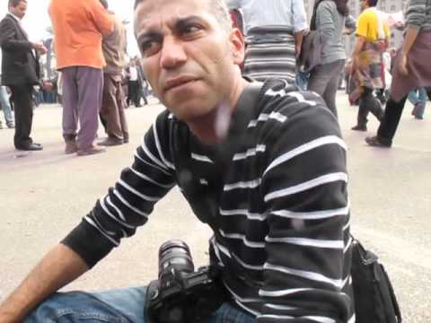 Inside Tahrir Sq. Cairo Feb 3 - Interview with blogger Hossam El Hamalawy