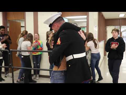 VandenBerge Middle School Student Surprised by Marine Brother