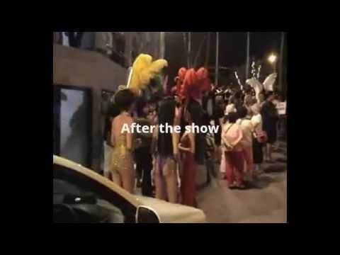Ladyboys singing dancing hugs kisses sexy trans gender Thailand