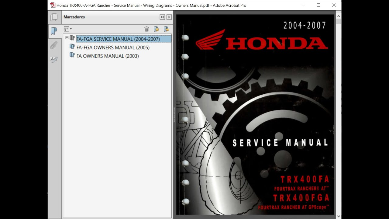 Honda Trx400fa Fga Rancher Service Manual Repair Manual Wiring Diagrams Owners Manual Youtube