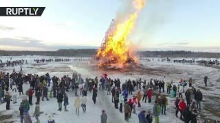 Беспилотник заснял сожжение чучела Масленицы в Никола Ленивце