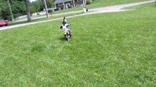 3rd time on a dirt bike without training wheels-- 2 year old on a motor cycle