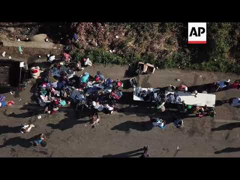 Drone footage of migrant caravan as seen from above