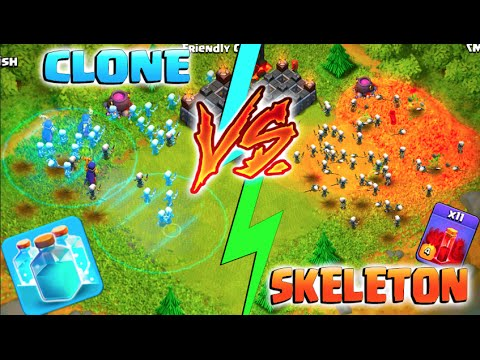 CLONE SPELL VS SKELETON SPELL! - Clash of Clans - New Update Spell Challenge!