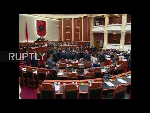 Albania: Opposition MPs throw flour over PM Rama in parliament