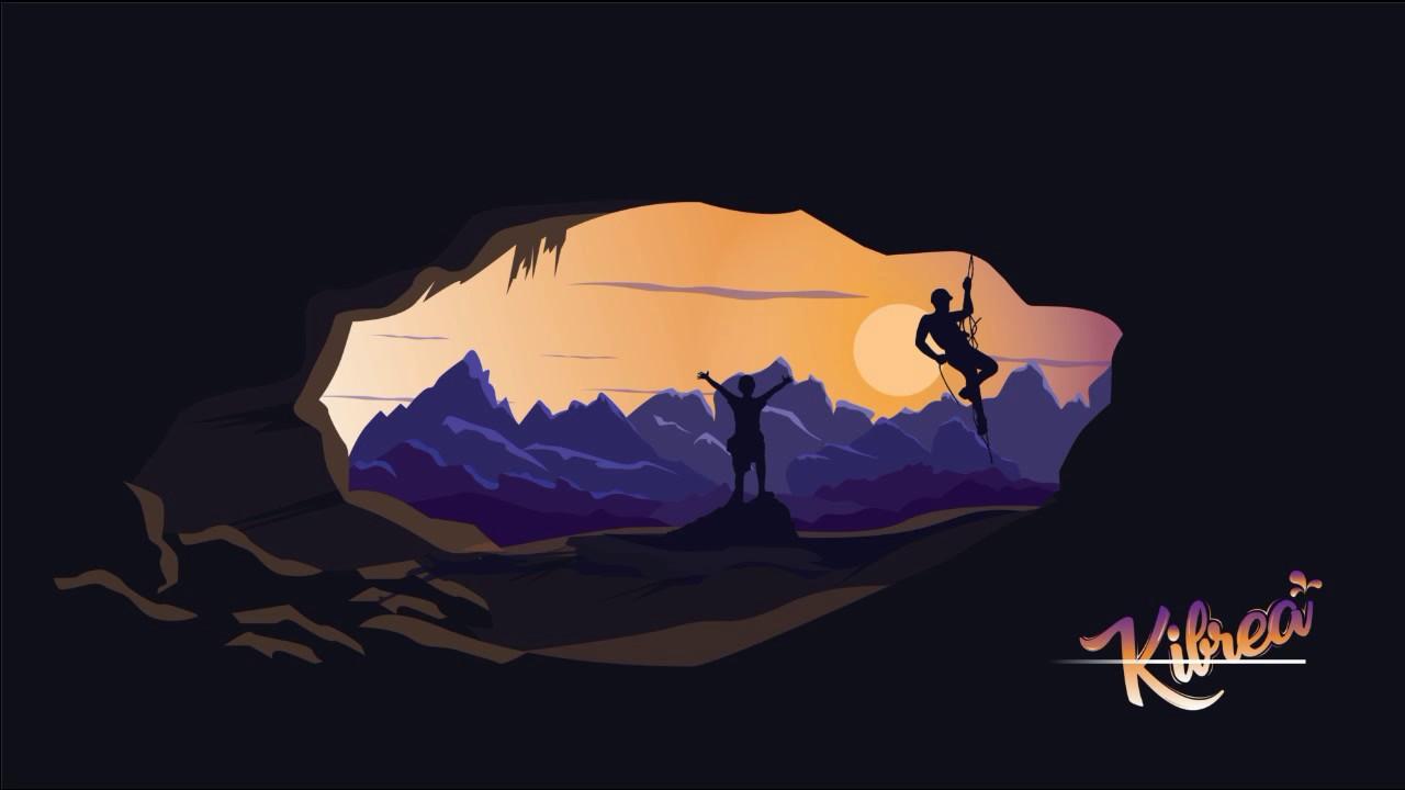 Landscape Illustration Vector Free: Mountain Cave Flat Design Landscape Illustration