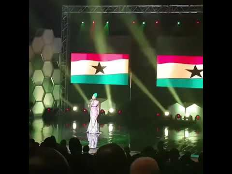 Ghanaian musician Efya singing the Ghana national anthem at the CAF awards held last night in Ghana
