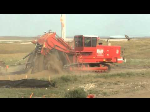 Trencher laying Cable on a Wind Farm