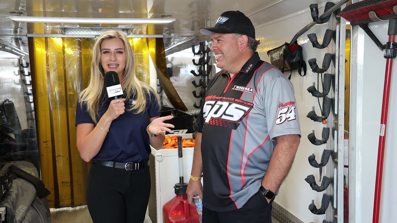Taylor catches up with Joe Farrè after the SPS cars qualify 1-2-3 at Irwindale