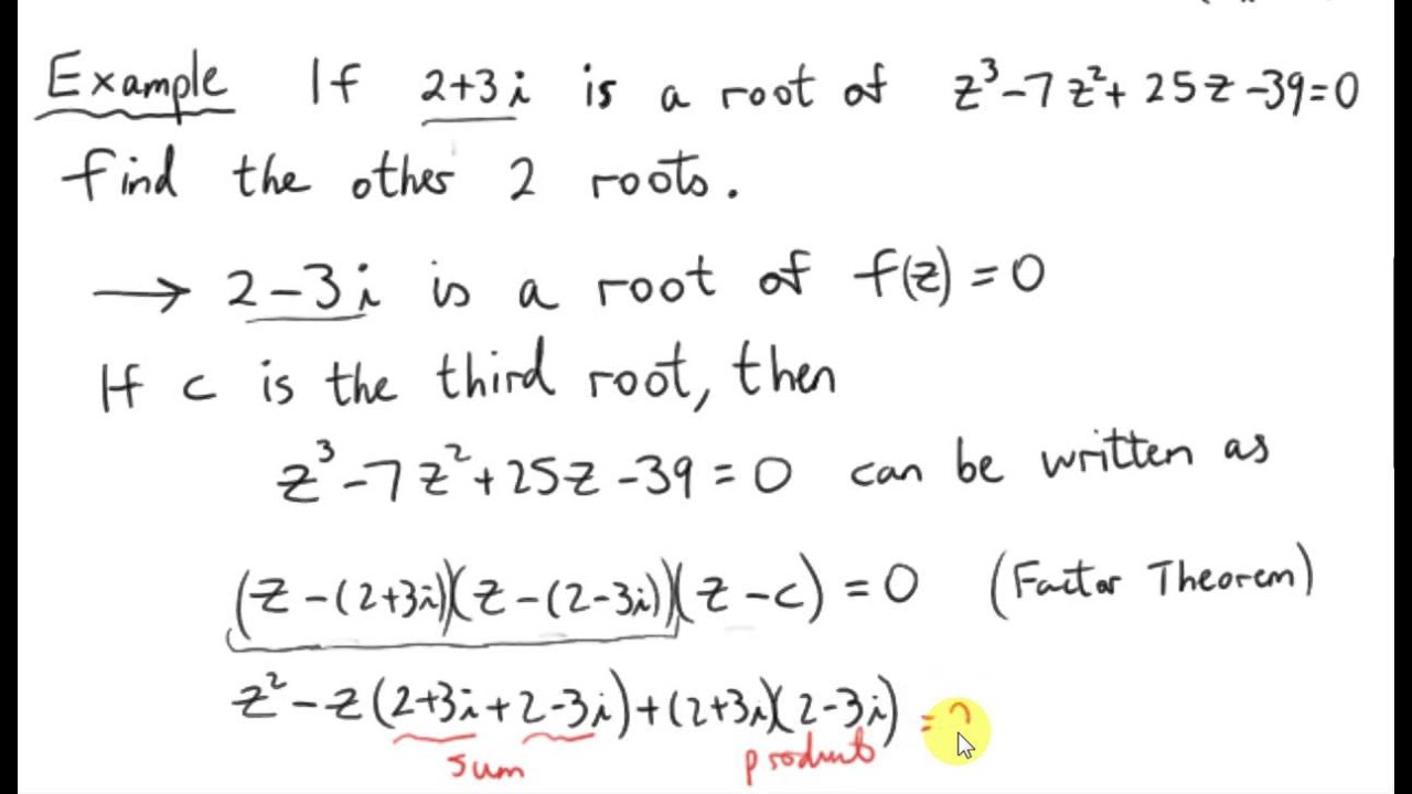 Conjugate Roots Theorem Cubic Equation Example Youtube
